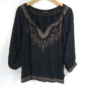 Lucky Brand L Black Embroidered Blouse Peasant